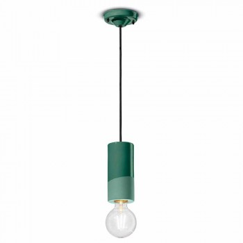 Cylindrical Suspension Lamp Colored Ceramic Made in Italy - Ferroluce Pi