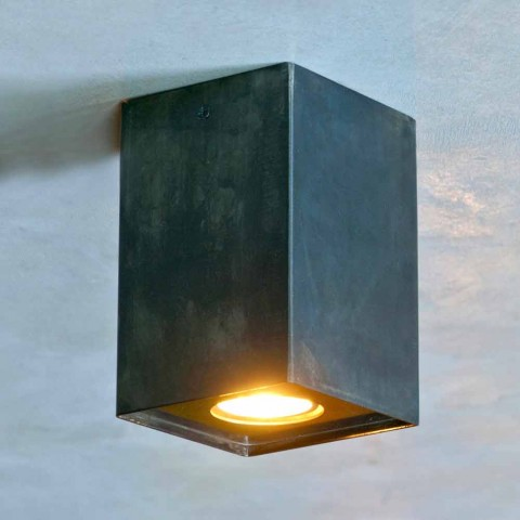 Cubic Lamp in Black Iron with Frosted Welds Made in Italy - Cubino