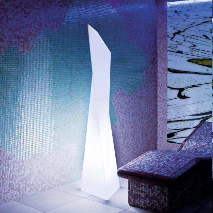 Prism-shaped white outdoor lamp Slide Manhattan, made in Italy