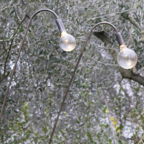 Artisan Outdoor Lamp in Iron and Decorative Glass Made in Italy - Beba