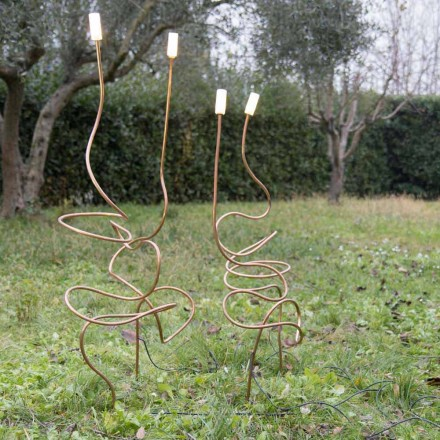 Outdoor Lamp in Natural Copper with Decorative Glass Made in Italy - Fusillo