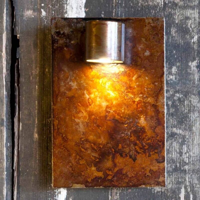 Artisan Wall Lamp in Iron Corten Finish Made in Italy - Cialda
