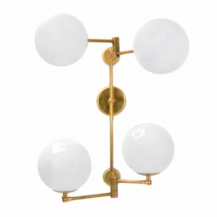 Handmade Wall Lamp in Natural Brass and Glass Made in Italy - Grinta