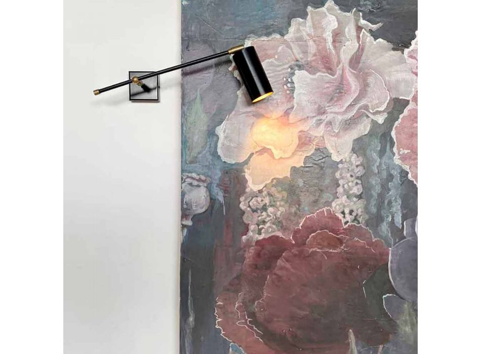 Black Artisan Wall Lamp with Brass Details Made in Italy - Master