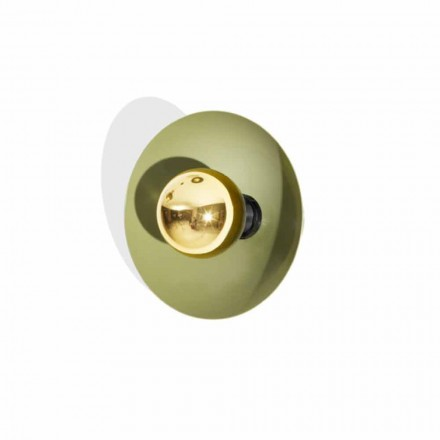 Modern Design Wall Lamp in Metal with Gold Decoration Made in Italy - Valta