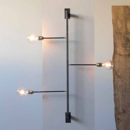 Design Wall Lamp with Black Iron Structure Made in Italy - Anima