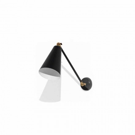 Metal Wall Lamp with Details in Gold Finish Made in Italy - Zaira