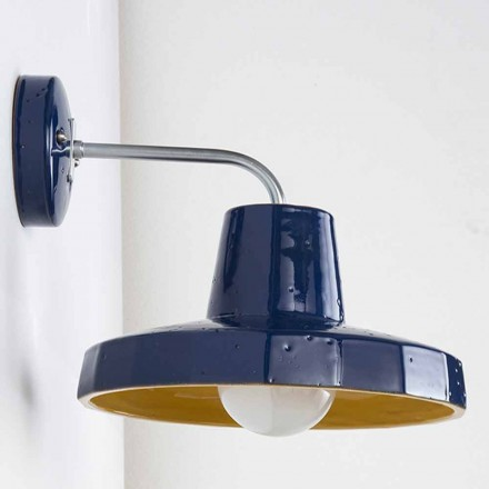 Modern wall lamp in tuscan maiolica and brass, Rossi – Toscot