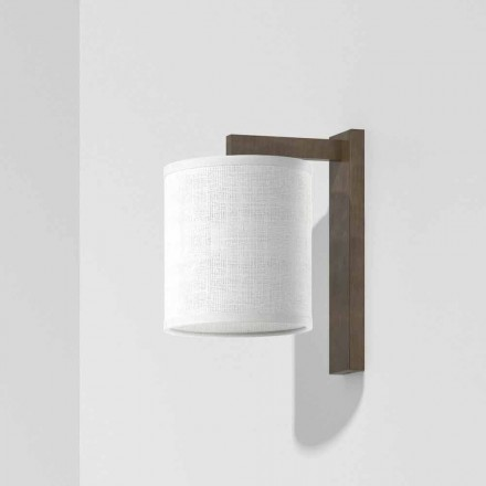Modern Metal Wall Lamp with Linen Lampshade Made in Italy - Bali