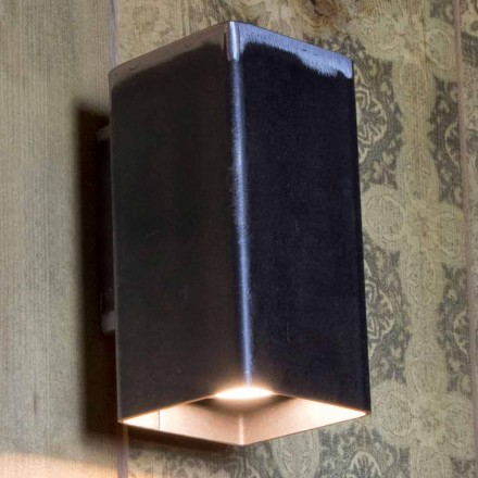 Handmade Square Wall Lamp in Black Iron Made in Italy - Cubino