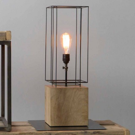 Handcrafted Iron Table Lamp with Wooden Base Made in Italy - Olive Tree