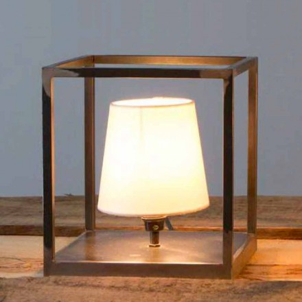 Handmade Iron Table Lamp with Lampshade Made in Italy - Cubola