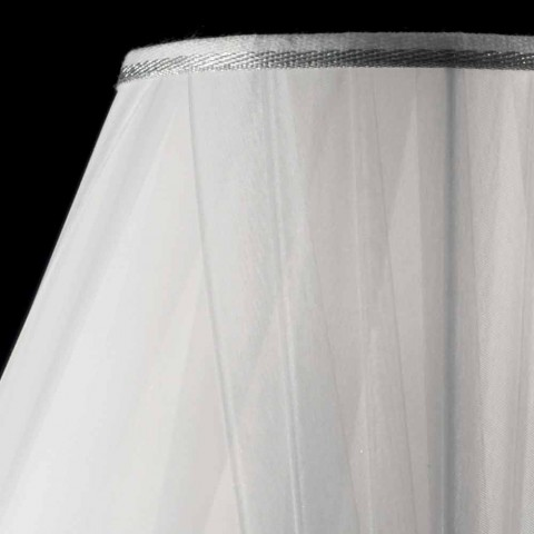 White wooden table lamp Lira, made in Italy