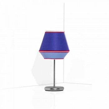Blue Table Lamp with Chromed Metal Structure Made in Italy - Soya