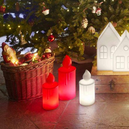 White or Red Luminous Candle Table Lamp Design by Slide - Fiammetta