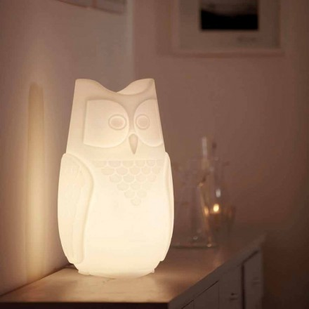Colored owl-shaped table lamp Slide Bubo, made 100 % in Italy