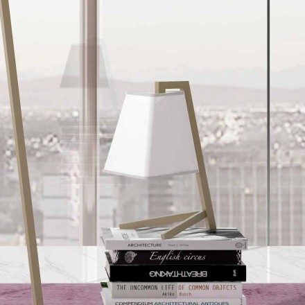 Table Lamp with Structure in Metal and Fabric Made in Italy - Barton