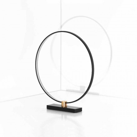 Design Table Lamp in Black Aluminum and Brass Made in Italy - Norma