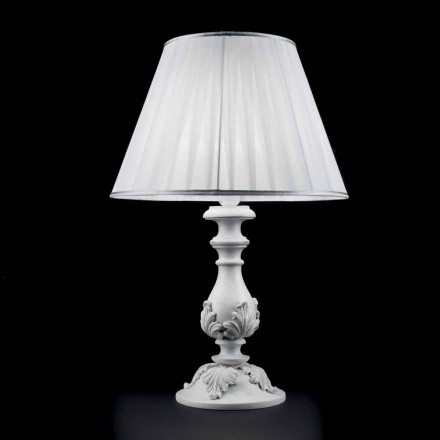 White table lamp made of wood Lira, made in Italy, classic design