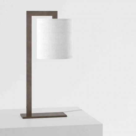 Design Table Lamp in Metal and White Linen Made in Italy - Bali
