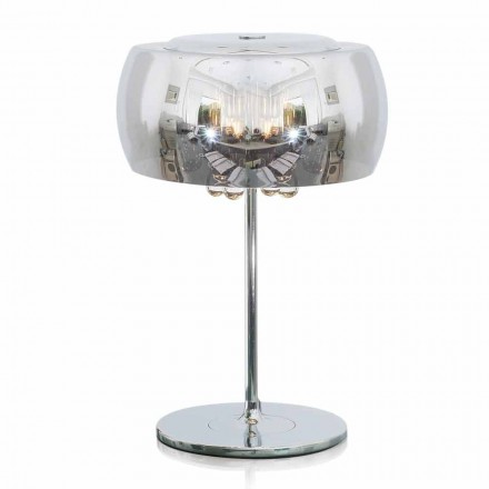 Design Table Lamp in Glass, Crystal and Chromed Metal - Cambria