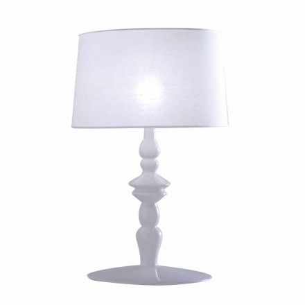 Table Lamp in White Ceramic and Linen Lampshade 2 Dimensions - Cadabra
