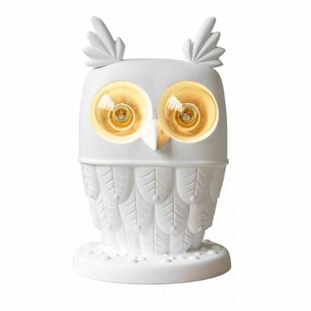 Table Lamp in Matt White Ceramic 2 Lights Modern Design Owl - Owl