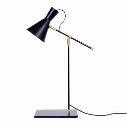 Table Lamp in Iron and Aluminum Matt Black Color Made in Italy - Malita