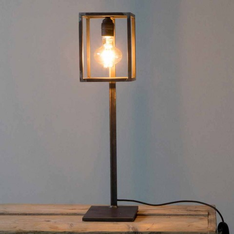 Black Iron Table Lamp with Cotton Cable Made in Italy - Unique