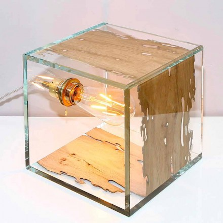 Glass table lamp Cà d'oro 22, made of Venetian Briccola wood