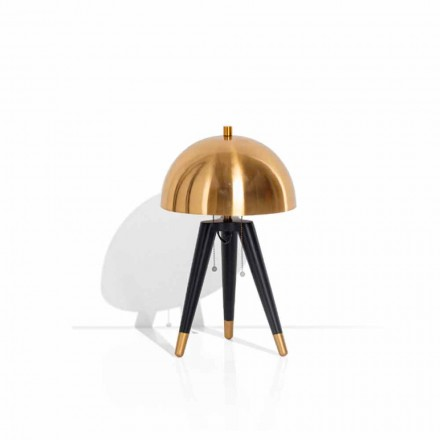 Table Lamp in Black Metal and Brushed Brass Made in Italy - Peter