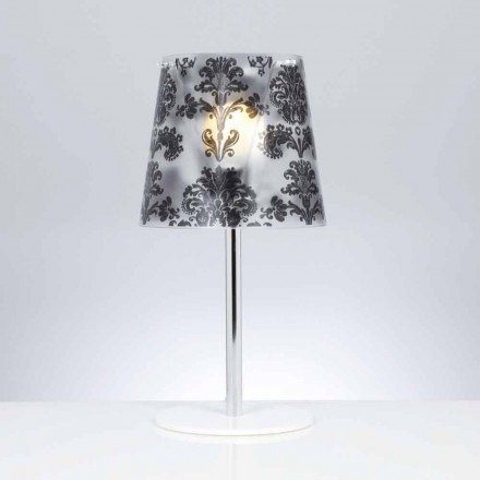 Modern polycarbonate table lamp Mara with decorations, 30 cm diam