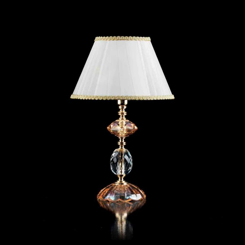 Glass table and crystal lamp Belle, made in Italy