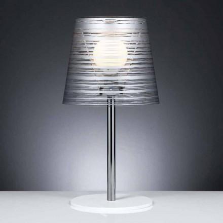 Modern table/desk lamp Shana with silver decorations, 30 cm diam