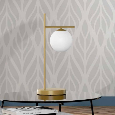 Modern Table Lamp in Brass and Glass Finish Made in Italy - Carima