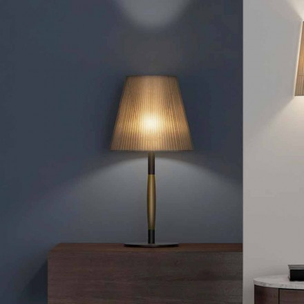 Modern Table Lamp in Metal, Wood and Organza Made in Italy - Boom