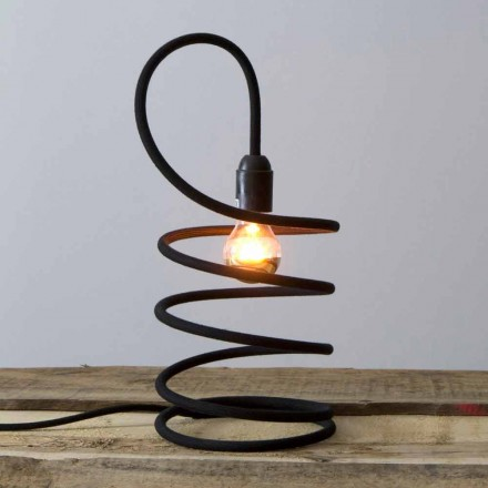 Modern Table Lamp in Copper Coated in Cotton Made in Italy - Fusilla