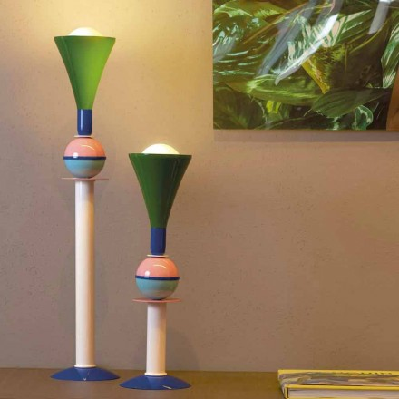 Aluminum multi-colored table lamp Slide Carmen, made in Italy