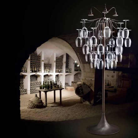 Designer floor lamp with 30 glasses Sauvignon