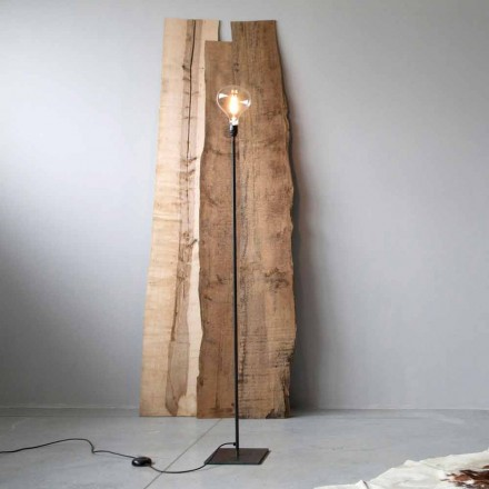 Handcrafted Floor Lamp with Black Iron Structure Made in Italy - Simple