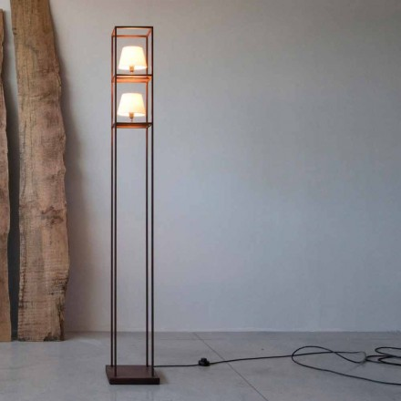 Handcrafted Iron Floor Lamp Corten Finish Made in Italy - Tower
