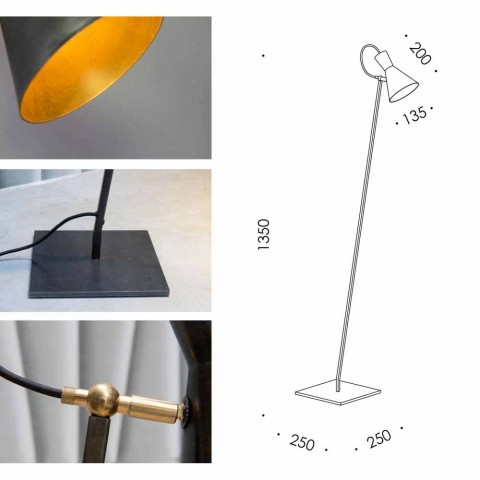 Artisan Floor Lamp in Black Iron and Aluminum Made in Italy - Brema