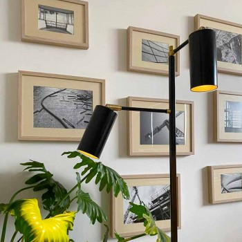Black Handcrafted Floor Lamp with Brass Details Made in Italy - Asterix