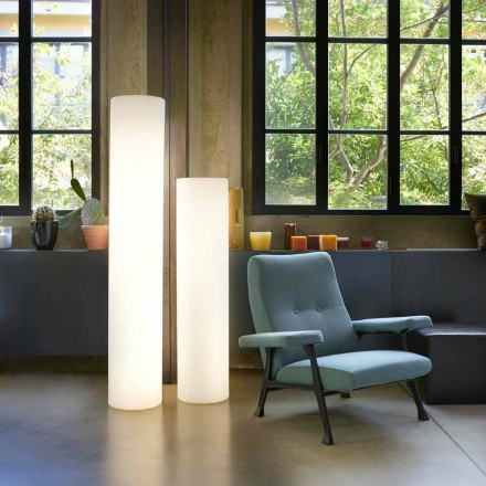 Design bright cylindrical floor lamp Slide Fluo, made in Italy