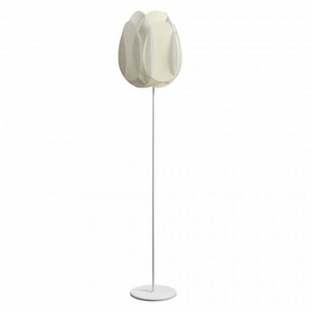 Modern floor lamp Lora with pearl white shade, diam. 40 x H195 cm