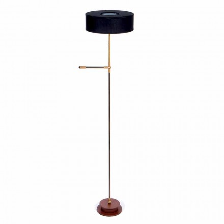 Floor Lamp with Handmade Black Linen Shade Made in Italy - Aurelia