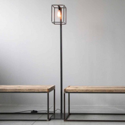Floor Lamp with Artisan Black Iron Structure Made in Italy - Cubola