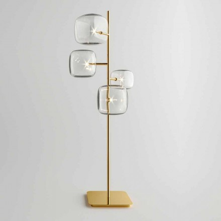 Design Floor Lamp with Shiny Metal Structure Made in Italy - Donatina