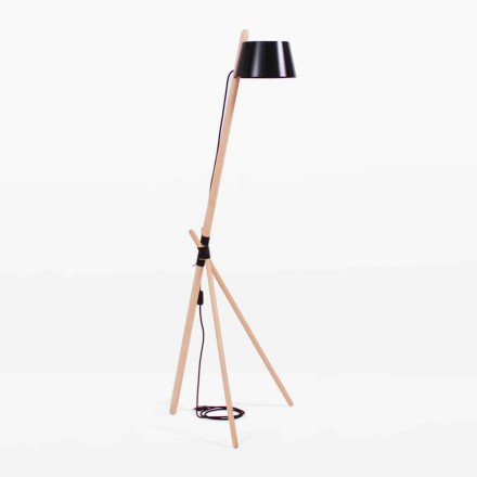 Design Floor Lamp in Beech Wood and Lacquered Metal - Avetta