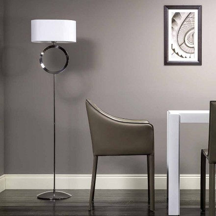 Floor lamp in steel with white lampshade Hmax 149,5cm Moon